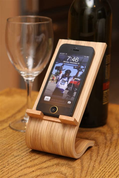 iphone stand for desk curved wood smartphone stand bespokebug