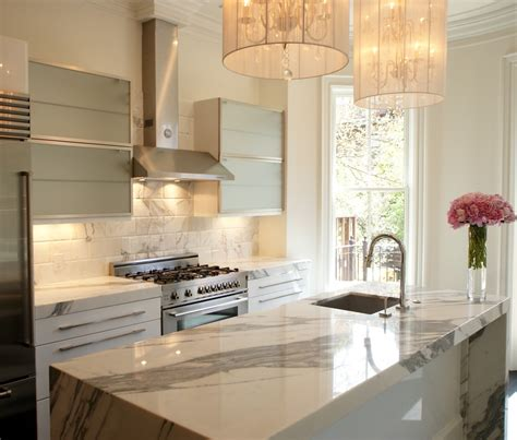 White Marble Kitchen Island White Marble Backsplash Kitchen Contemporary With Black Countertops Cherry Cabinets