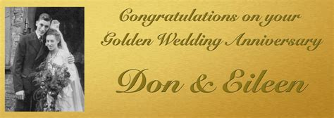 Golden Wedding Banner by Personalised Wedding Anniversary Banners Personalised