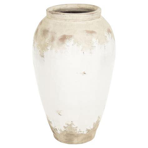 Modern Floor Vase Siena White Rustic Distressed White Ceramic Floor Vase