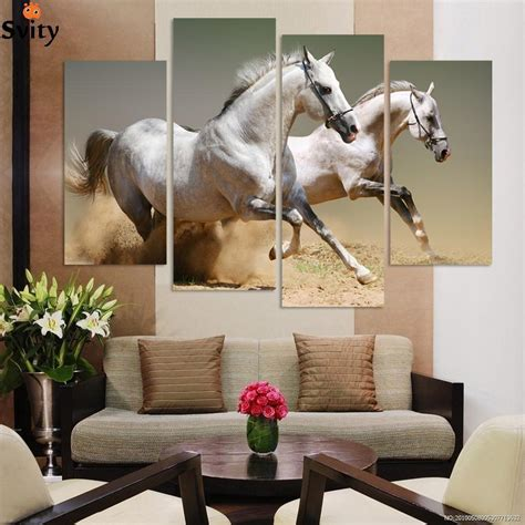 q where to purchase horse wall art home decor wall decor 4panels oil painting free shipping art canvas wall art