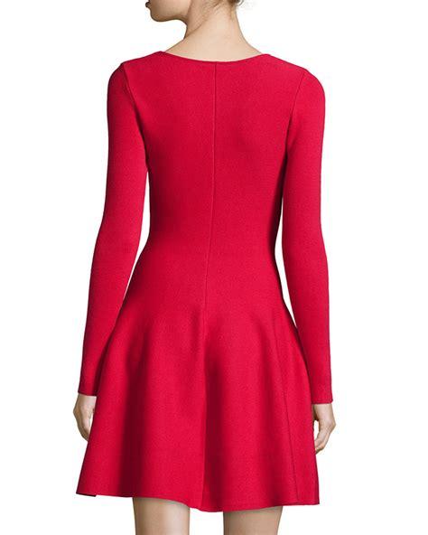 Sleeve Fit Dress lyst rvn sleeve fit flare dress in