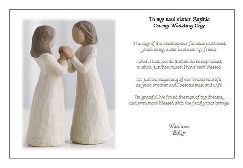 Personalised wedding day poem gift to my new sister in law ebay