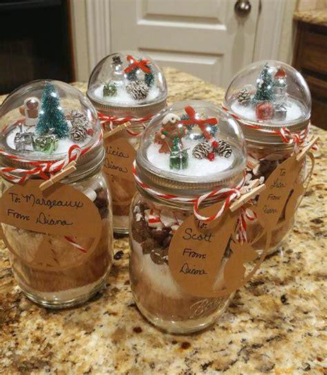 snow globe mason jar gifts   peppermint hot cocoa