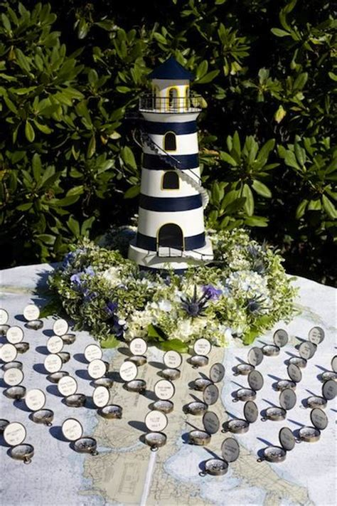 compass lighthouses and place cards on