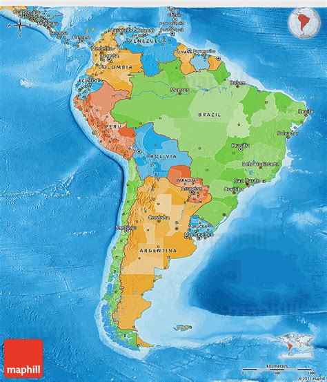 south america physical political map political 3d map of south america political shades outside