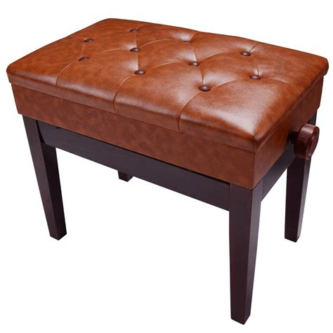 adjustable organ bench piano bench pu leather storage adjustable height padded