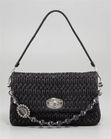 Miu Miu Raso Cristal Purse by Miu Miu Ruched Napa Leather Large Bag Black In
