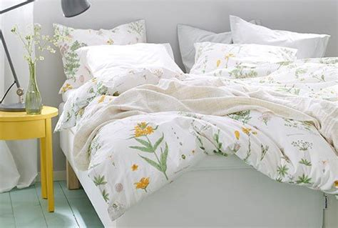 ikea strandkrypa duvet comforter cover set white floral twin queen king    ikea bed