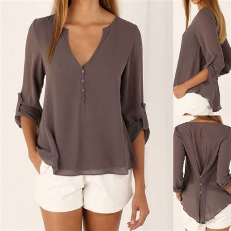 Blouse Brukat Jumbo Blouse Jumbo Brukat 6 hirigin blusas femininas 2018 camisas v neck sleeve blouse large size back