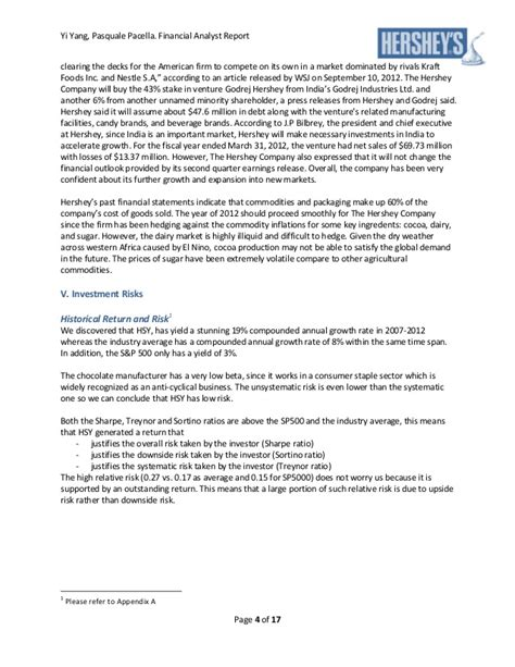 financial analyst report sle hershey financial analyst report