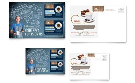 postcard design template coffee shop postcard template design