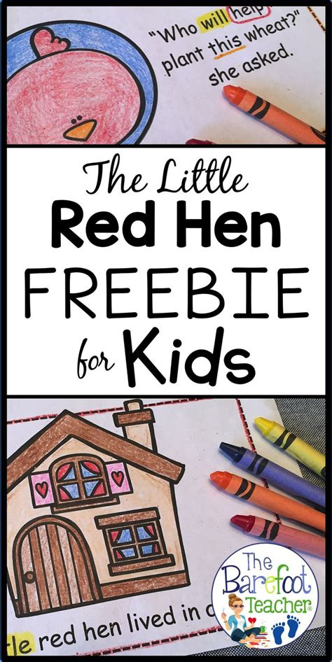 printable version of little red hen fairy and folk tale emergent readers plus a free download