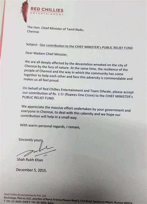 Thank You Letter For Flood Donation Shah Rukh Khan Donates Rs 1 Crore For Chennai Flood Victims Writes A Letter To The Cm
