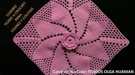 como tejer crochet para colcha en cuadros cuadrado a crochet flor espiral para colchas mantitas de