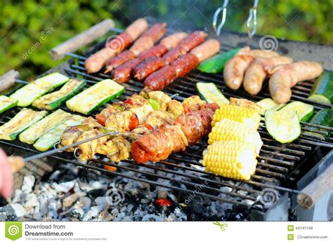 barbecue vegetables assorted and vegetables on barbecue gril stock photo