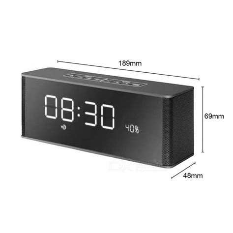 Speaker Bluetooth Portable Lcd Digital Clock Black portable led display bluetooth 3 0 speaker w alarm clock