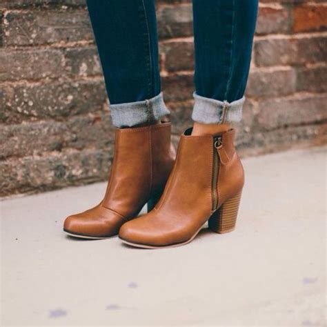 shoes boots booties brown leather boots