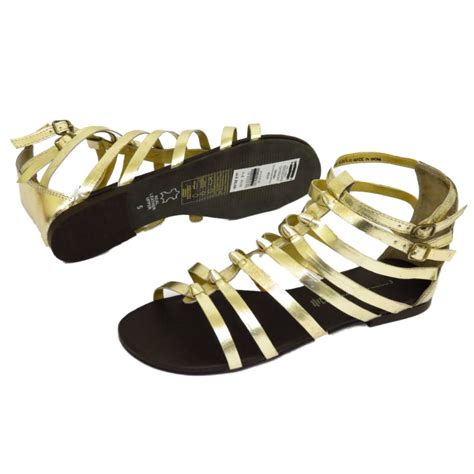gold peep toe flat shoes flat gold leather gladiator strappy sandals shoes