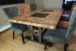Wood And Granite Dining Table Custom Furniture Butcher Block Style Dining Table Finewoodworking