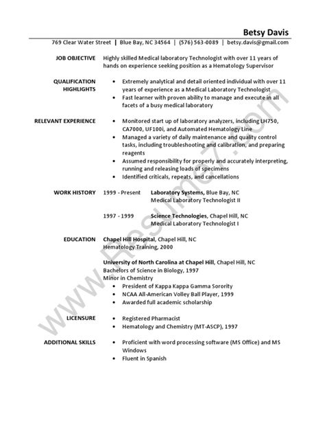 Specimen Of Professional Resume by Laboratory Technician Resume Sle