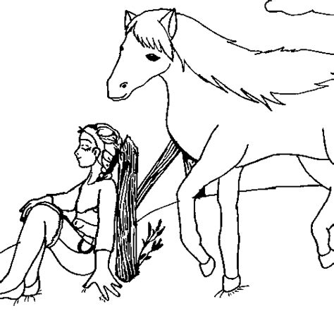 girl horse coloring page girl and horse coloring page coloringcrew com