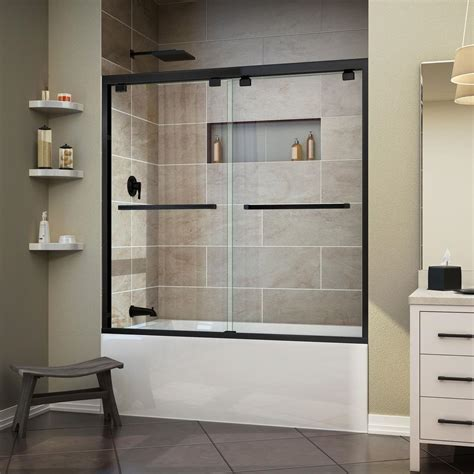 frameless bathtub doors dreamline encore 60 in x 58 in frameless sliding tub