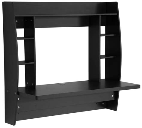 prepac wall mounted floating desk with storage in black prepac wall mounted floating desk with storage in black