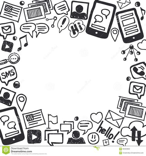 free vector doodle background social media doodles background with space for text stock