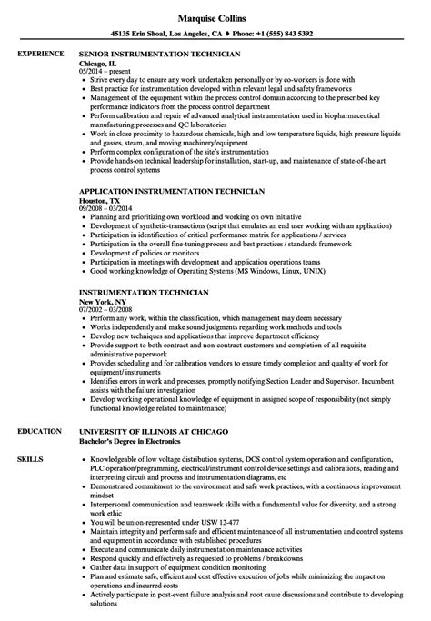 resume format for instrument technician instrumentation technician resume sles velvet