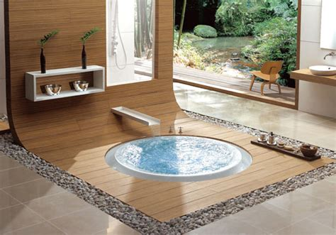 In Floor Bathtub by And Bathroom On