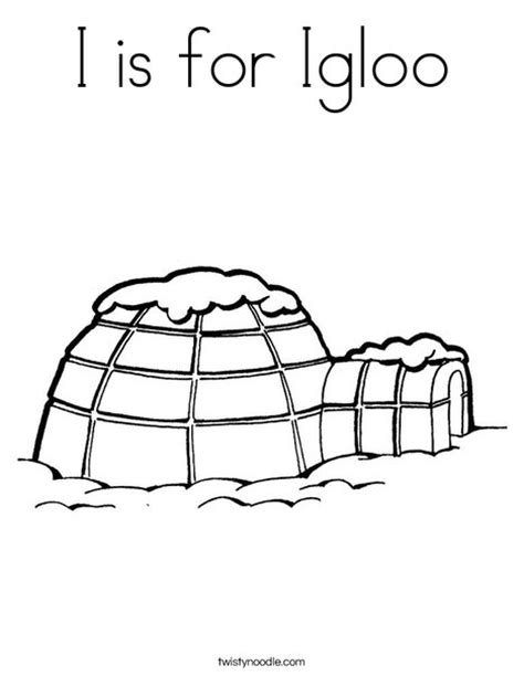 I Is For Igloo Coloring Page Twisty Noodle An For Coloring