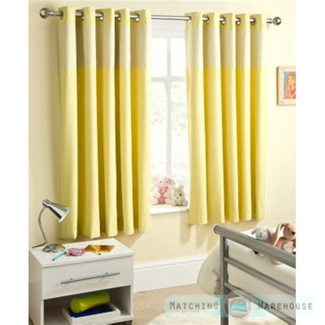 Childrens Gingham Curtain Thermal Blockout Eyelet Ring Top Yellow Curtains For Nursery