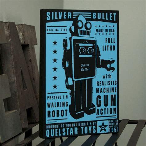 retro robot print quelstar robot art block    nerd