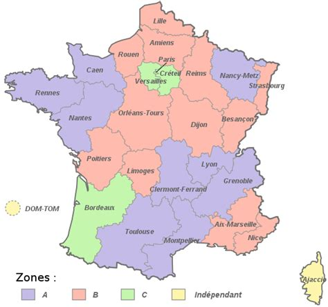 Zone Vacances Scolaires Carte Des Vacances Scolaires Zones Et Calendrier 2014 2015