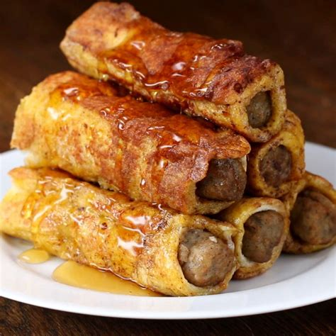 sausage french toast roll up recipe by tasty
