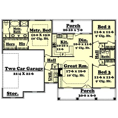 european style house plan 3 beds 2 baths 1500 sq ft plan