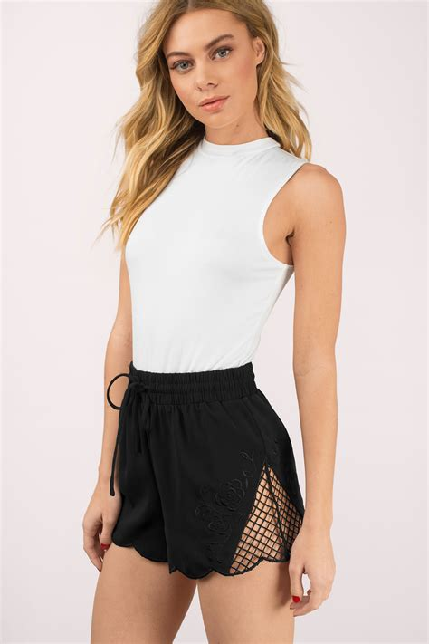 Lace Panel Shorts black shorts lace panel shorts black shorts