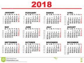 Calendario 2018 Vettoriale Gratis Calendario Di Griglia Per 2018 Illustrazione Vettoriale