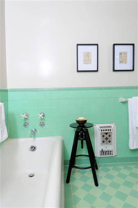 retro green bathroom vintage bathroom with green tile traditional bathroom
