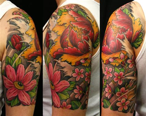 half sleeve tattoo flower designs japanese images designs