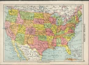 usa map 1950 vintage united states map map by