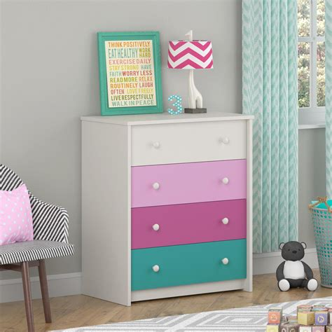 Colored Dresser by Dorel Home Furnishings Kaleidoscope 4 Drawer Pink Multi