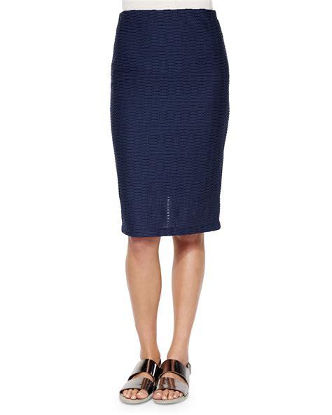 nanette lepore salsa midi pencil skirt in blue navy lyst