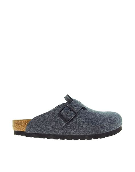 slip on shoes lyst birkenstock boston gray slip on clog shoes in gray