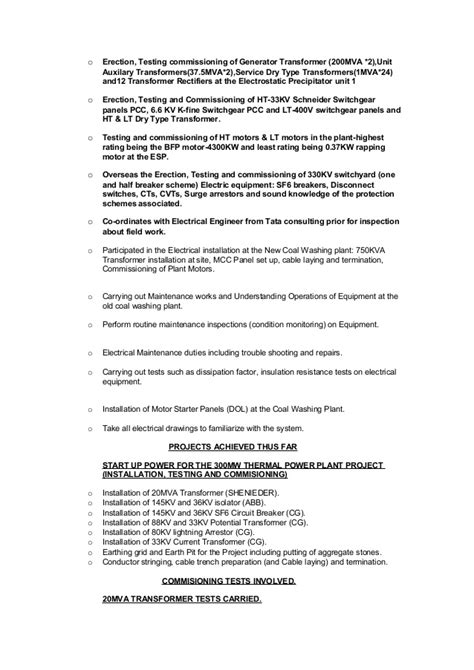 Commissioning Engineer Sle Resume by Cv Electrical Engineer 1