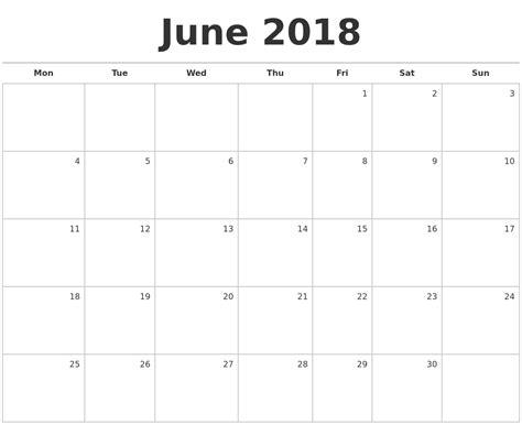free printable blank calendar june 2018 june 2018 blank monthly calendar