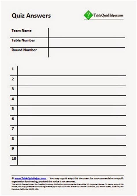 table quiz helper table quiz answer sheets