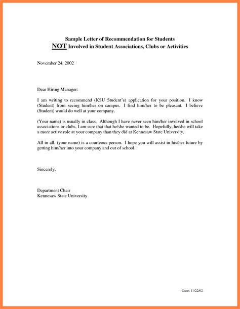 Sle Recommendation Letter For College Student Recommendation Letter For A Student 8 Letter Of