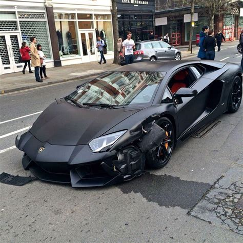 lamborghini parked matte black lamborghini aventador crashed into parked bmw